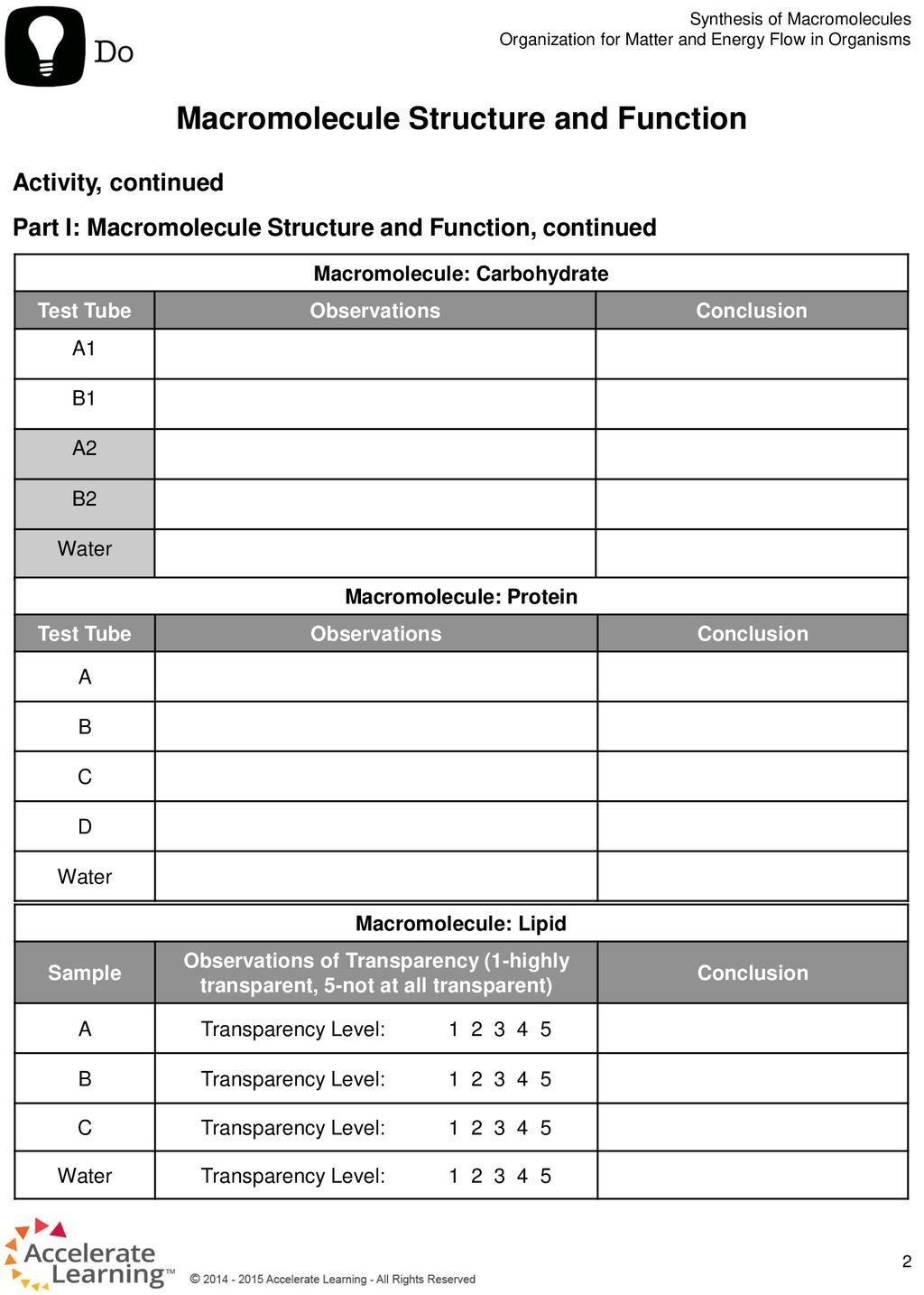 Macromolecule Comparison Table Worksheet Answers Macromolecule Structure and Function Ppt