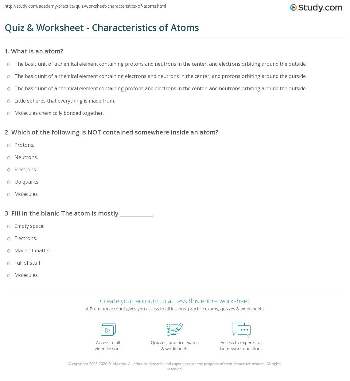 Martian Periodic Table Worksheet Quiz & Worksheet Characteristics Of atoms
