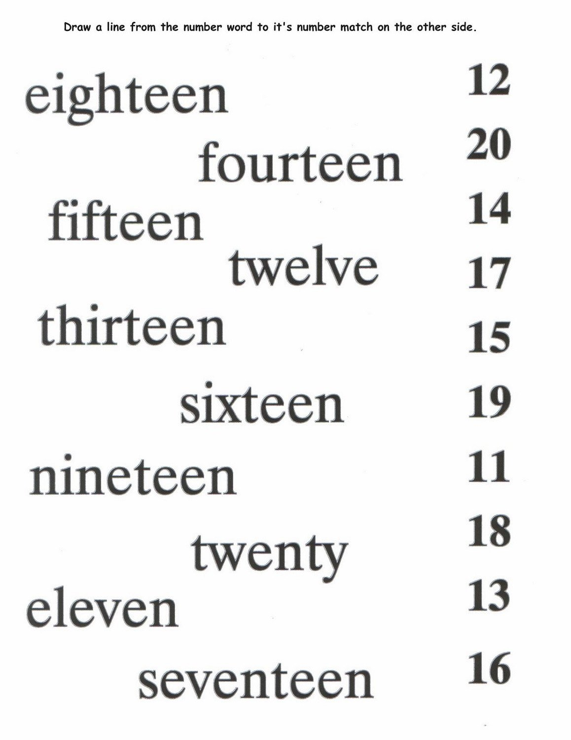 Matching Numbers to Words Worksheet Printable Number Names Worksheets