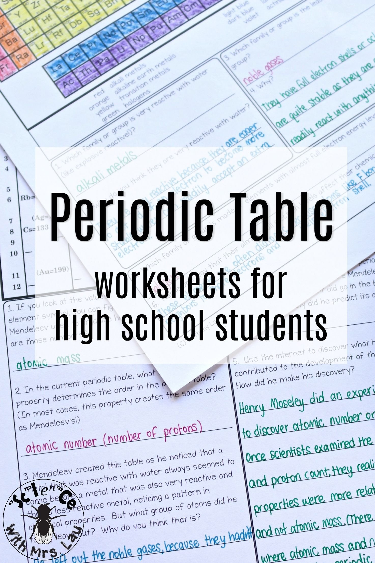 Middle School Periodic Table Worksheets A whole Set Of Periodic Table Trends Worksheets Covering