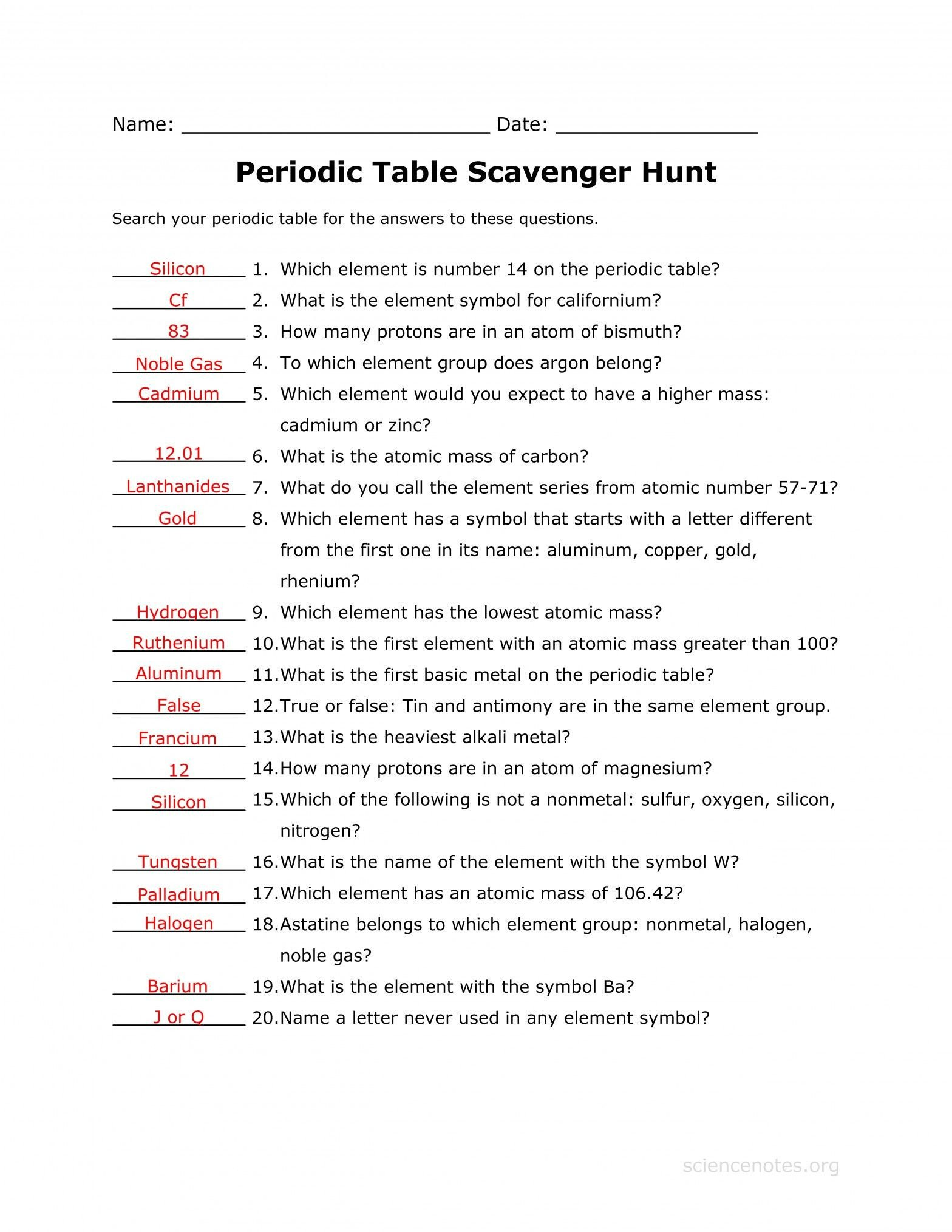 Middle School Periodic Table Worksheets Best Periodic Table Worksheet Pdf Answer Key