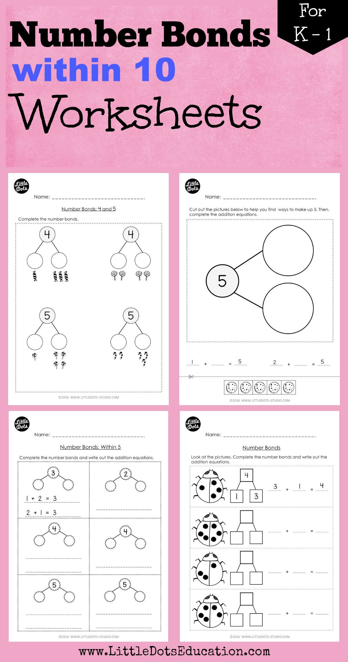 Number Bond Worksheets for Kindergarten Kindergarten Math Number Bond Worksheets and Activities