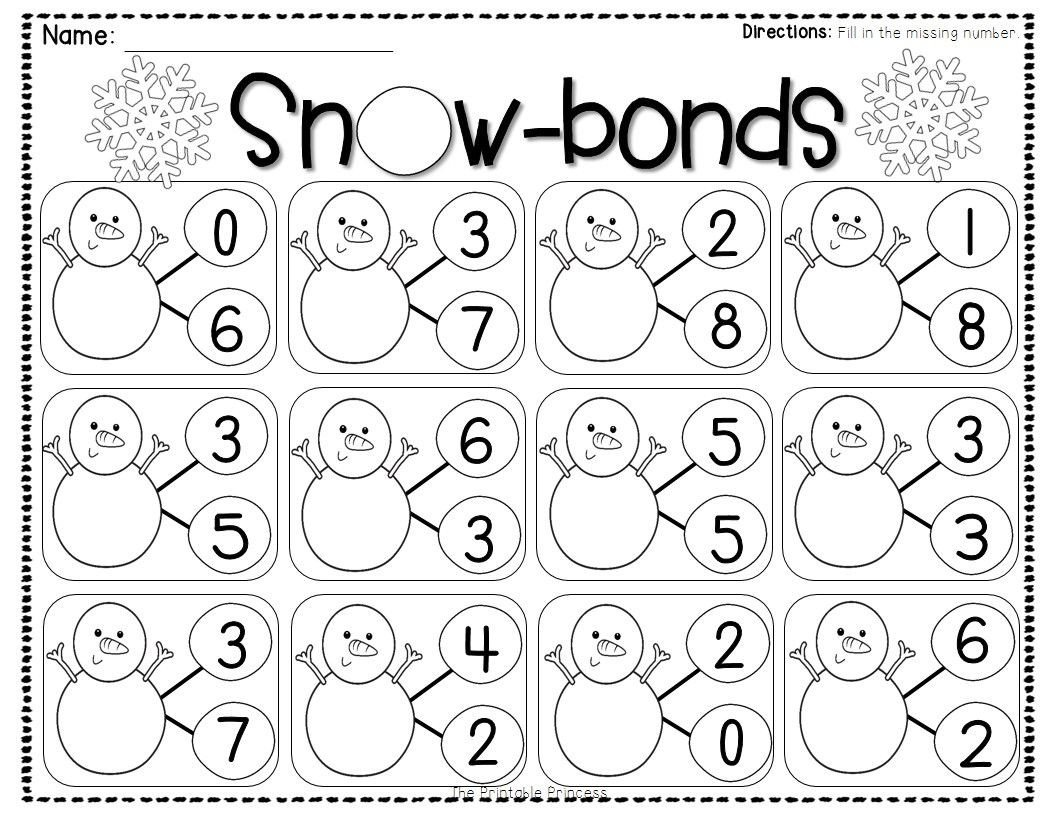 Number Bond Worksheets for Kindergarten Pin by Amy Burns On Early Childhood Math Prek 2
