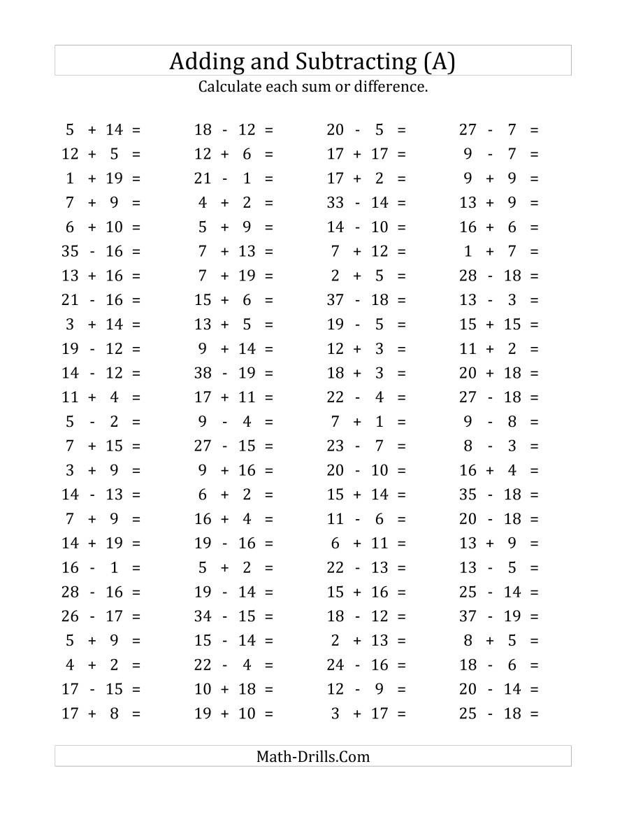 Number Bonds to 20 Worksheet 100 Horizontal Addition Subtraction Questions Facts 1 to 20