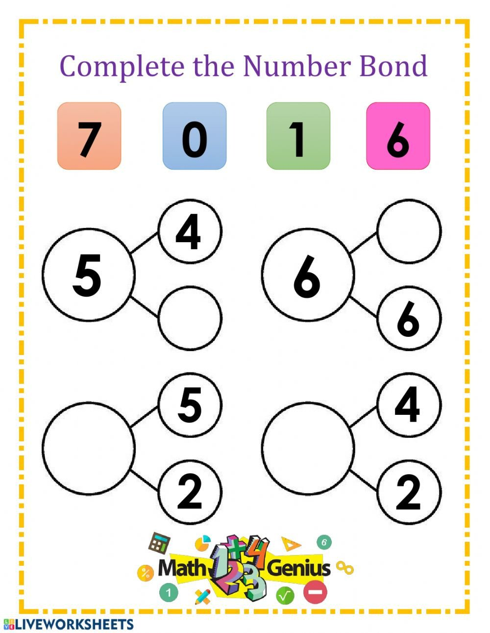 Number Bonds to 20 Worksheet Number Bonds 5 6 and 7 Interactive Worksheet