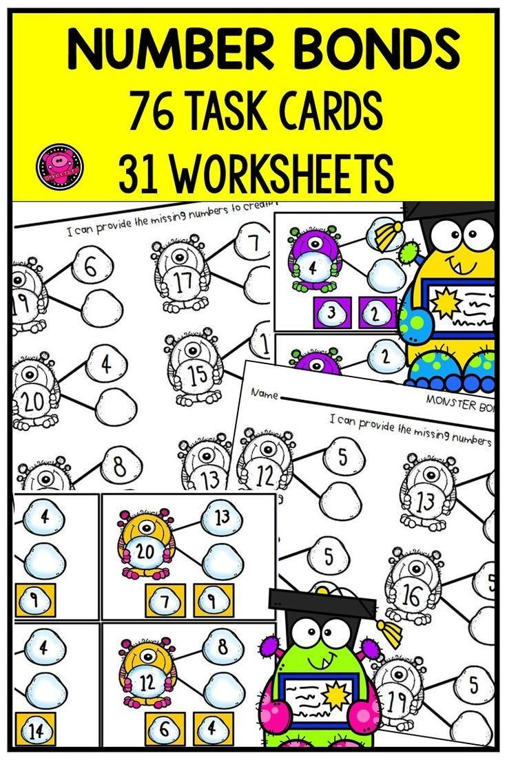 Number Bonds to 20 Worksheet Number Bonds to 10 and 20 Differentiated Worksheets Centers