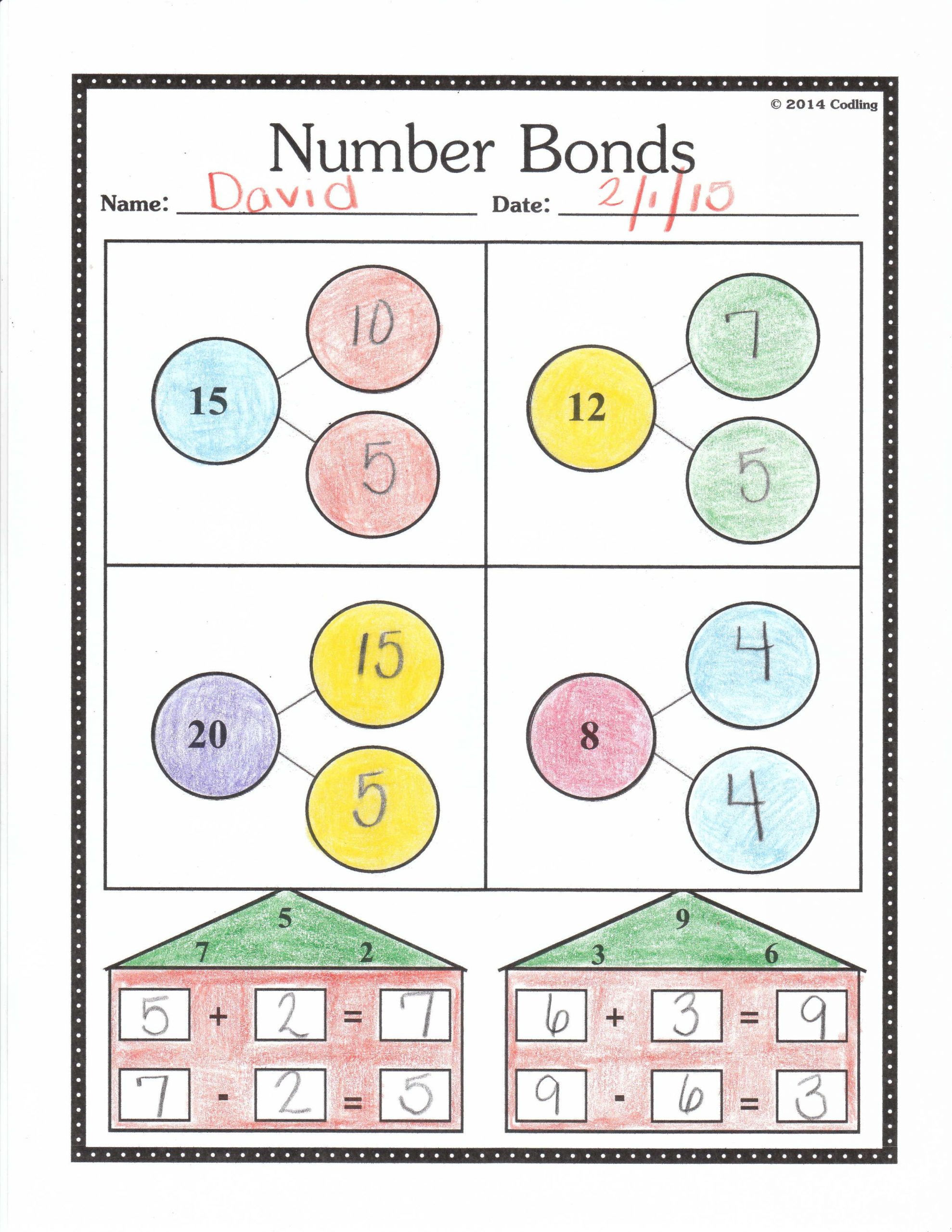 Number Bonds to 20 Worksheet Number Bonds Worksheet First Grade