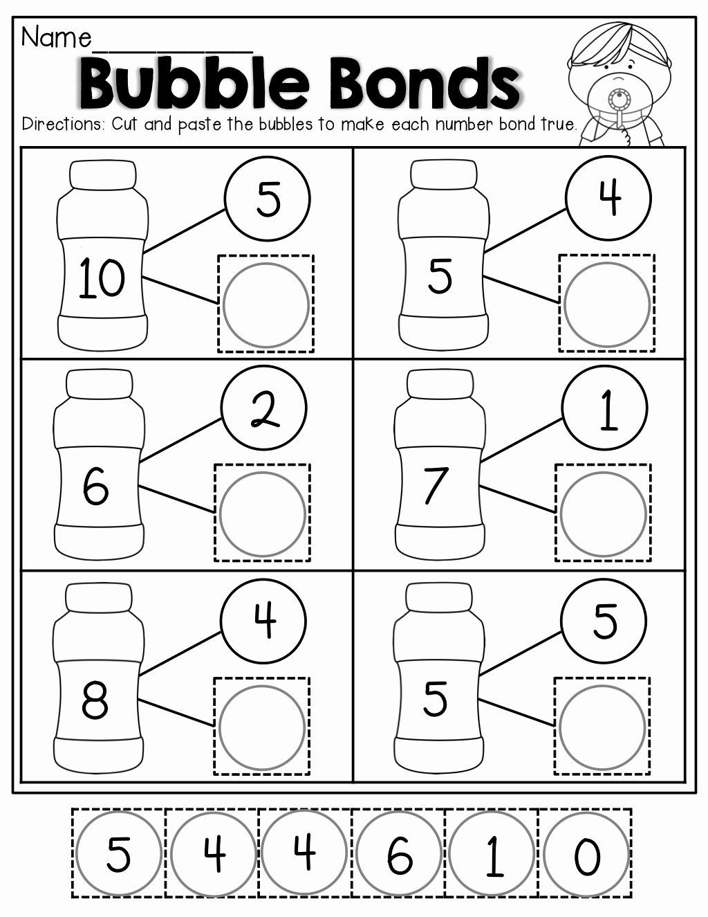 Number Bonds Worksheets Kindergarten Pin On Worksheets Kindergarten
