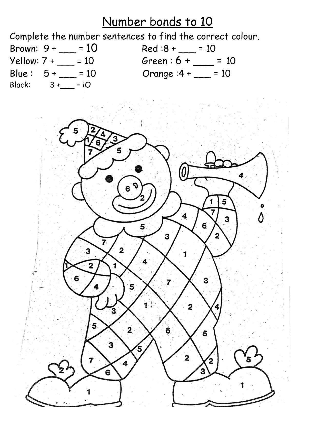 Number Bonds Worksheets Kindergarten Worksheets Worksheets Number Bonds for Grade Printable