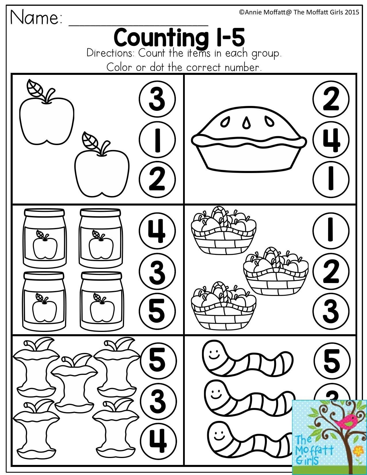 Numbers 1 5 Worksheets Counting 1 5 Count the Items In Each Group and Dot or Color