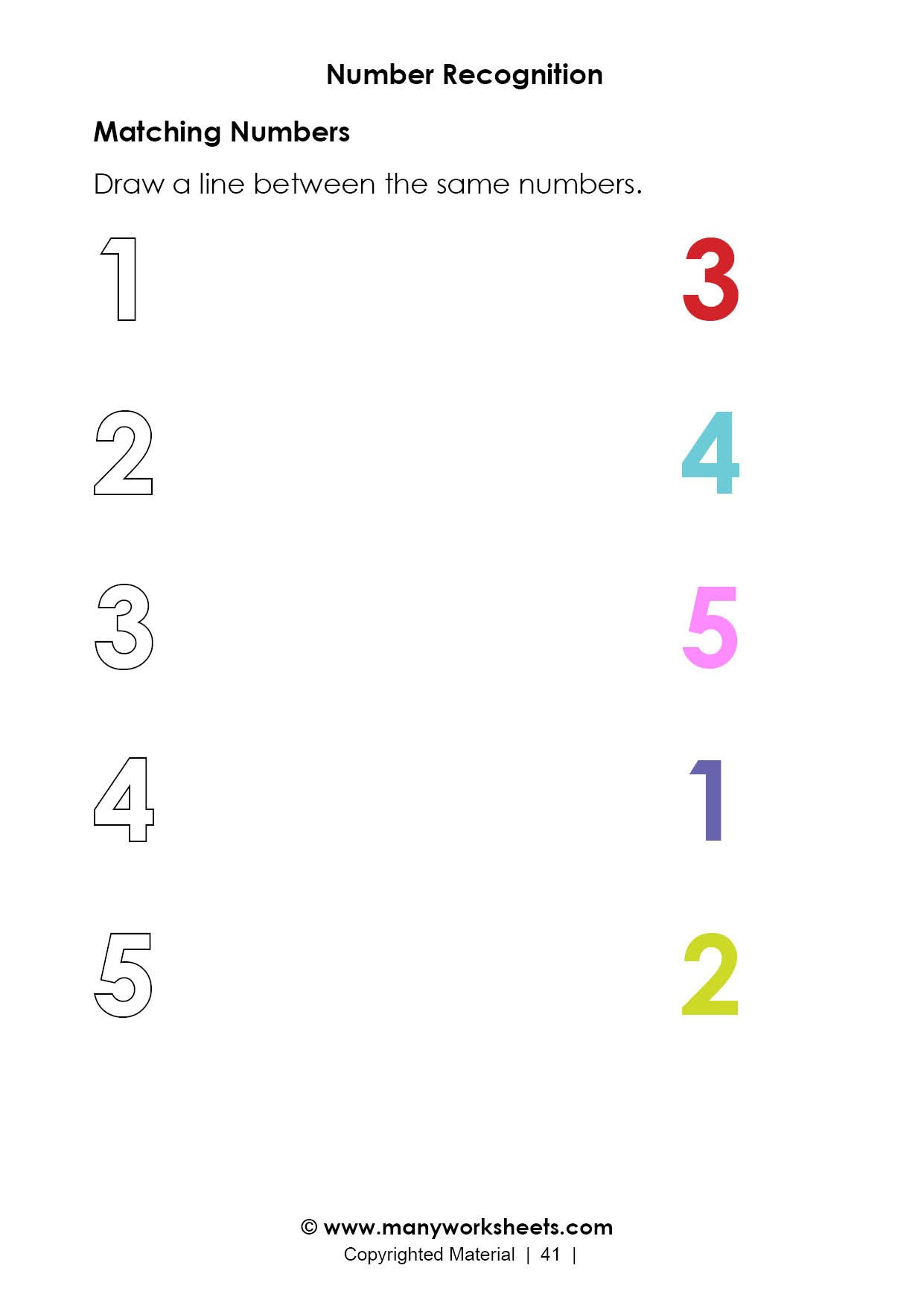 Numbers 1 5 Worksheets Matching Numbers Worksheet for Kindergarten