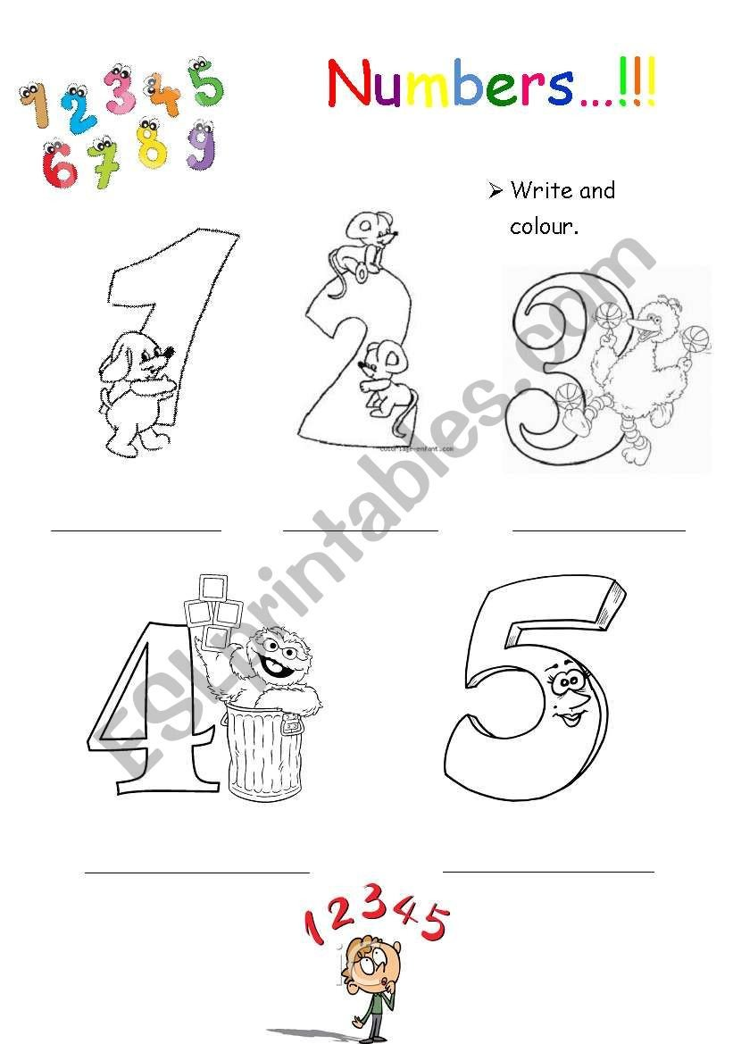 Numbers 1 5 Worksheets Numbers 1 5 Colouring Esl Worksheet by Helena22