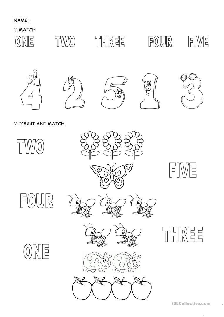 Numbers 1 5 Worksheets Numbers 1 5 English Esl Worksheets for Distance Learning