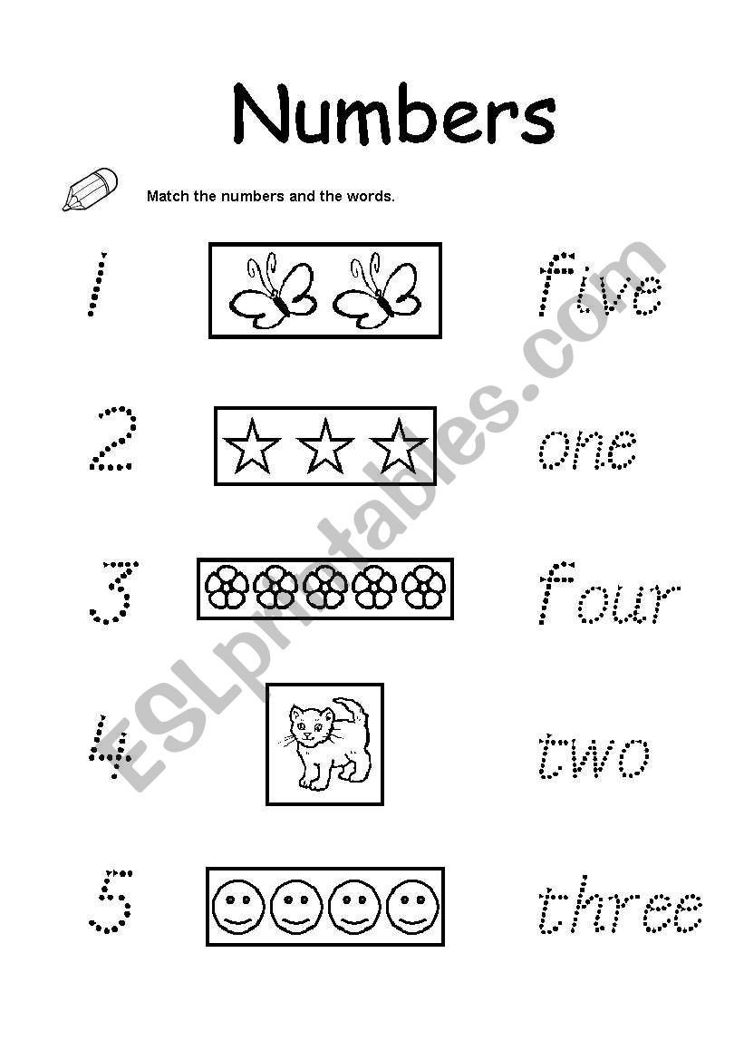 Numbers 1 5 Worksheets Numbers 1 5 Esl Worksheet by Mellizabeth113