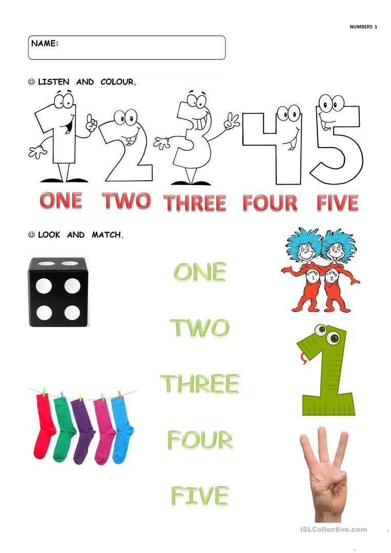 Numbers 1 5 Worksheets Numbers 1 to 5 English Esl Worksheets for Distance