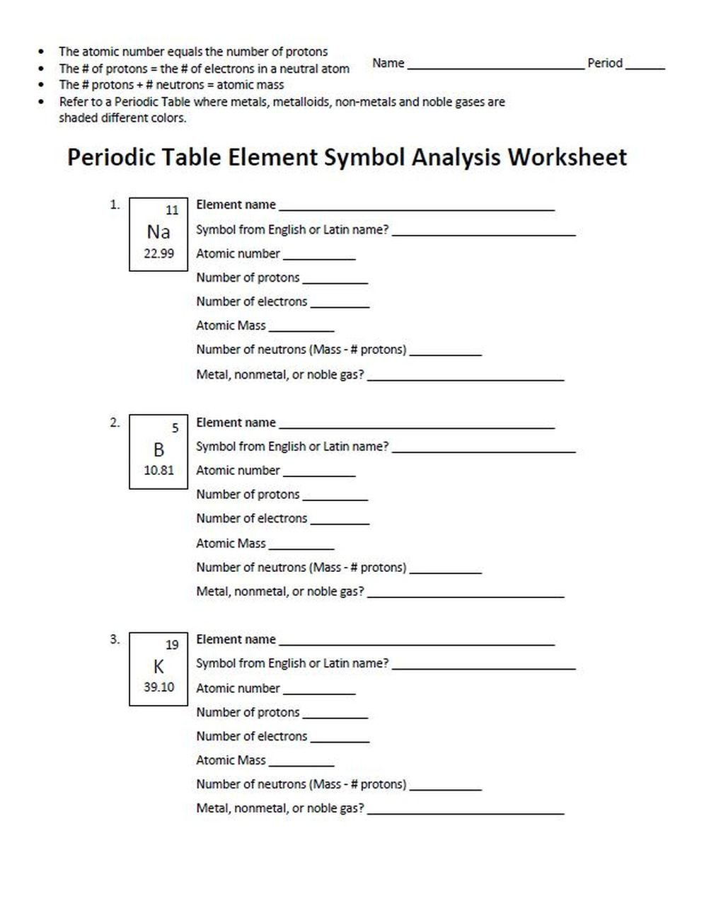 Periodic Table Fun Worksheet Analysis Of Element Symbols On the Periodic Table Worksheet