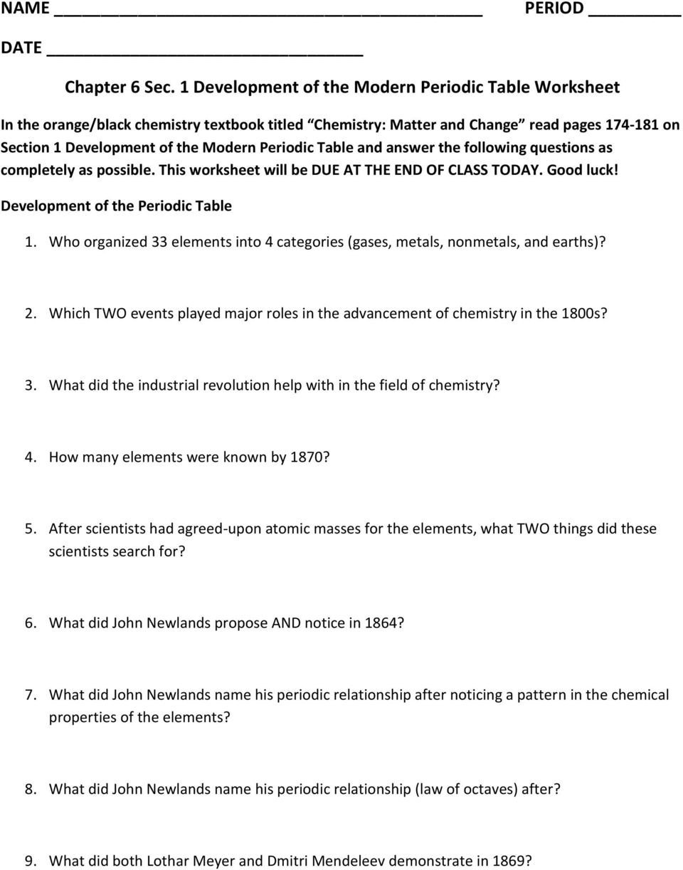 Periodic Table organization Worksheet Chapter 6 Sec 1 Development Of the Modern Periodic Table