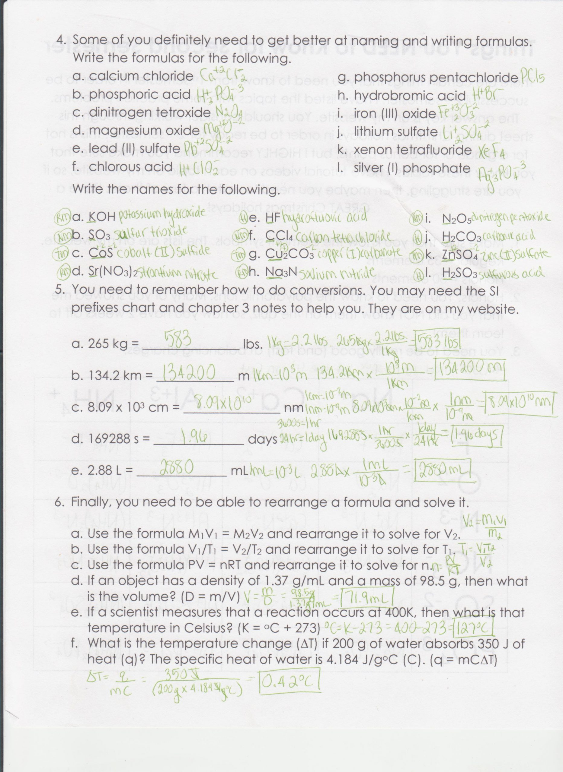 Periodic Table Practice Worksheet Answers Science Borders Jennie Honors Chemistry
