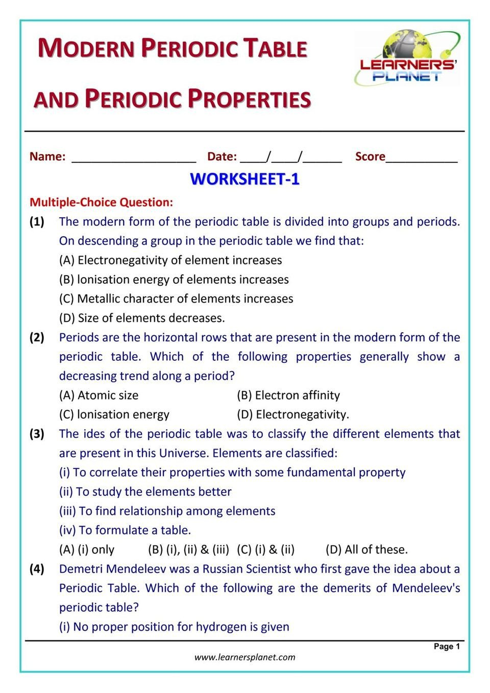 Periodic Table Properties Worksheet Grade 10 Chemistry Olympiad Modern Periodic Table