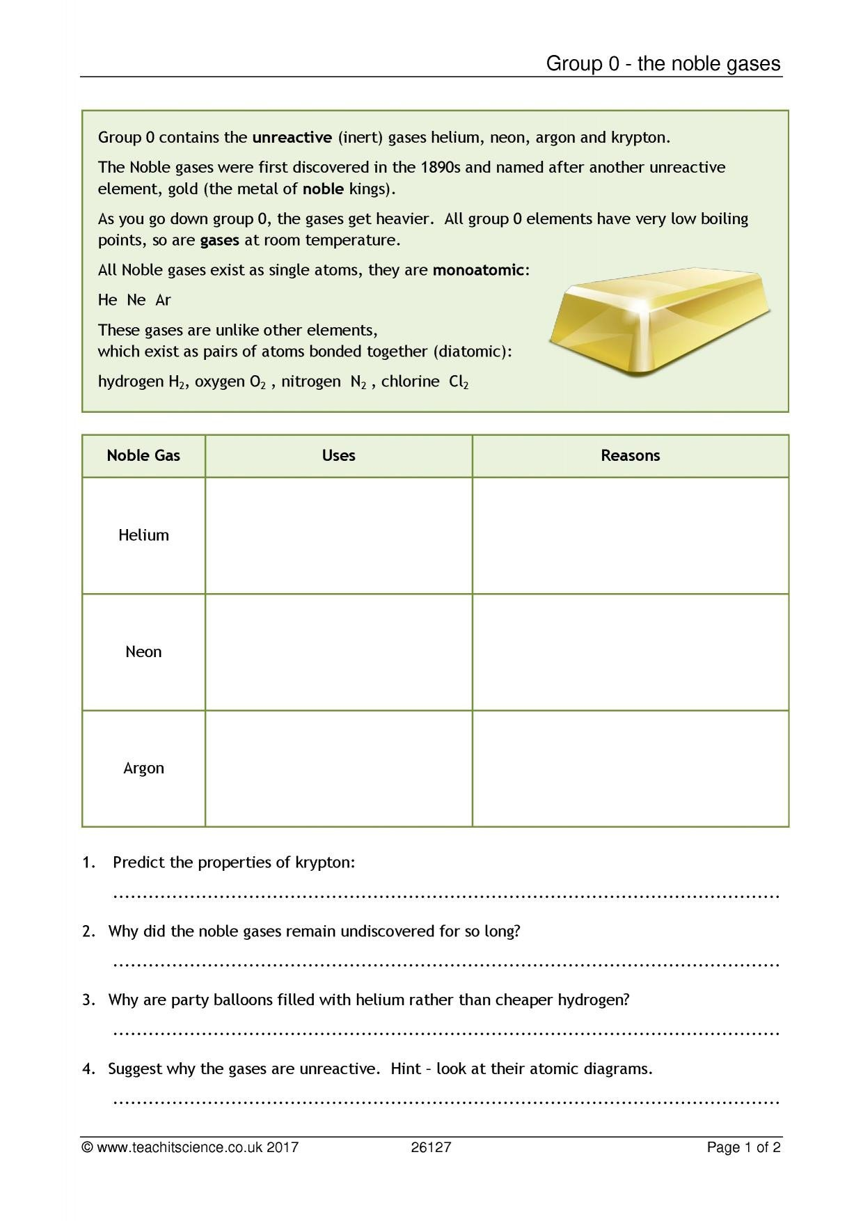 Periodic Table Properties Worksheet Group 0 the Noble Gases