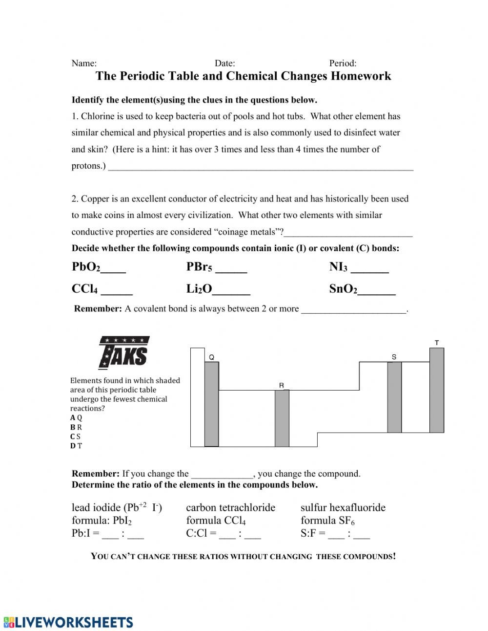 Periodic Table Properties Worksheet Periodic Table and Chemical Changes Interactive Worksheet
