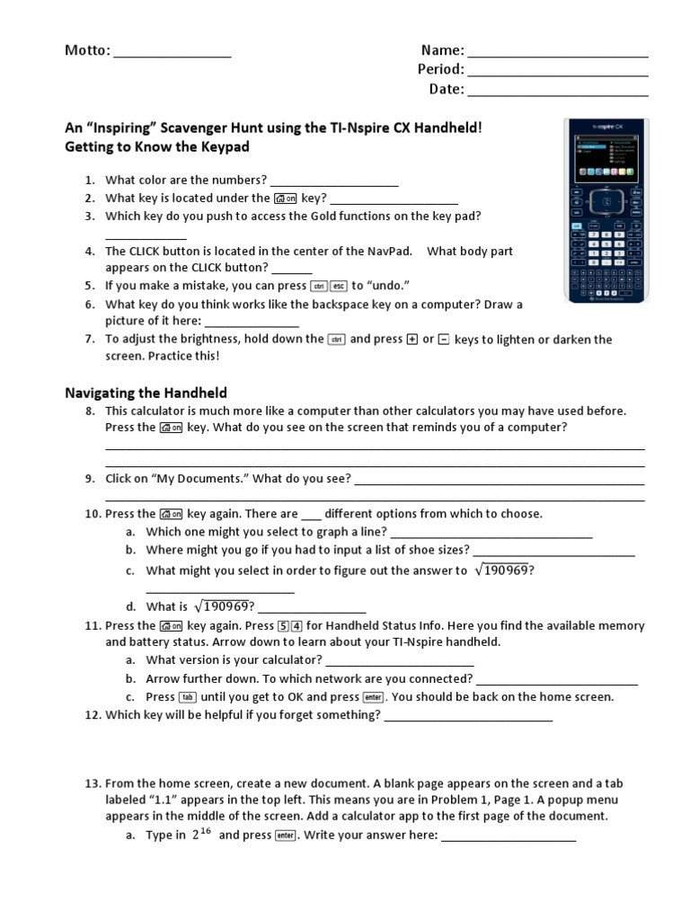 Periodic Table Puns Worksheet Answers Ti Nspire Cx Scavenger Hunt Worksheet Answers