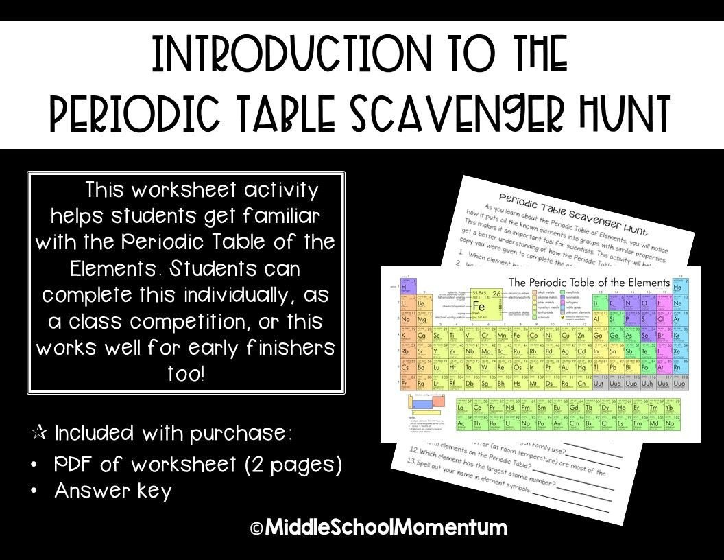 Periodic Table Riddles Worksheet Introduction to the Periodic Table Scavenger Hunt
