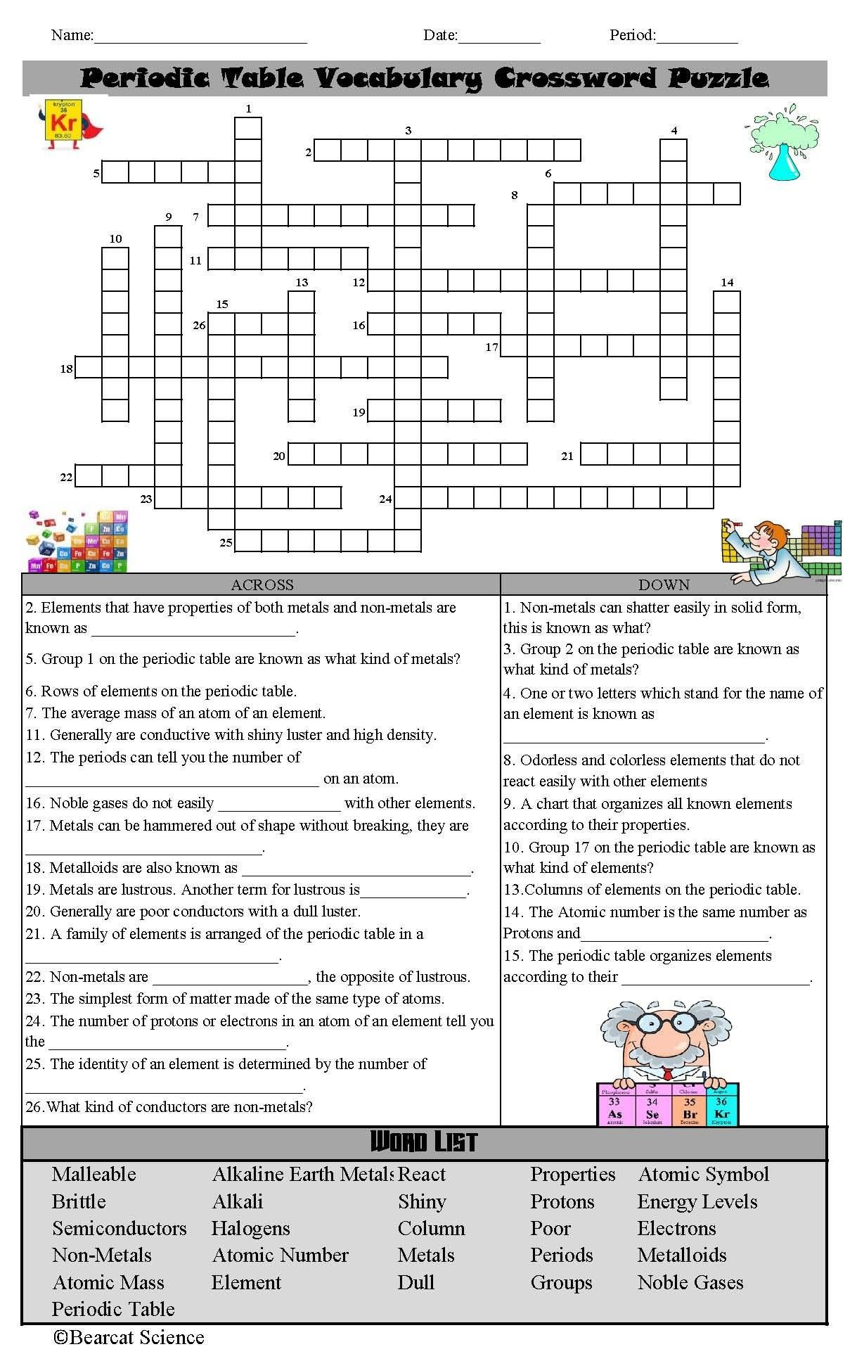 Periodic Table Vocabulary Worksheet Periodic Table Concepts Crossword
