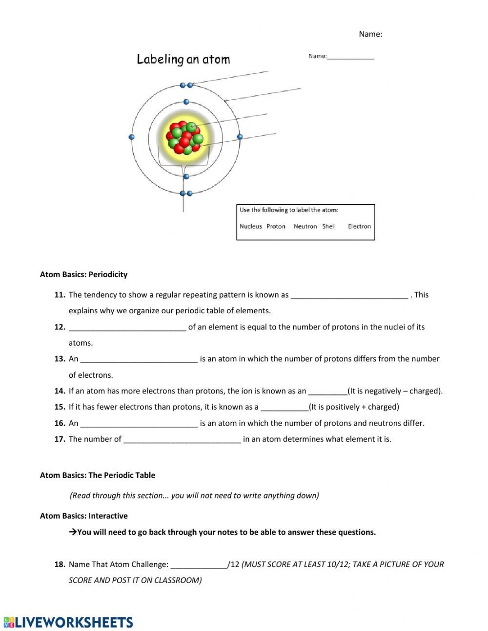 Periodic Table Vocabulary Worksheet the Periodic Table Interactive Worksheet