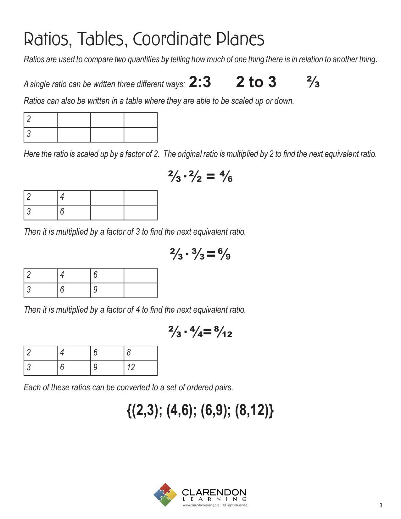 Ratio Table Worksheets 6th Grade Ratios Tables Coordinate Planes Lesson Plan