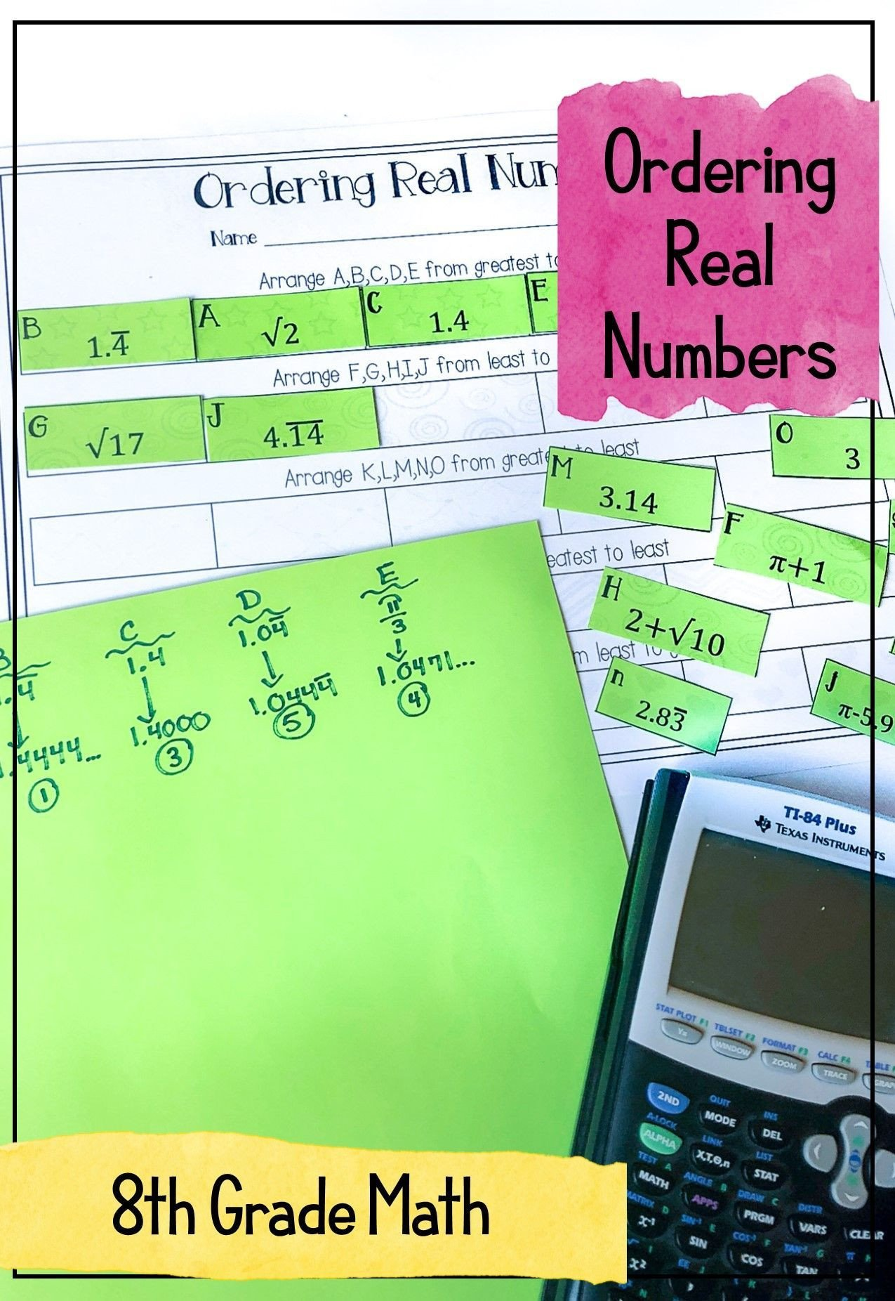 Real Numbers Worksheet 8th Grade My 8th Grade Math Students Loved This ordering Real Numbers