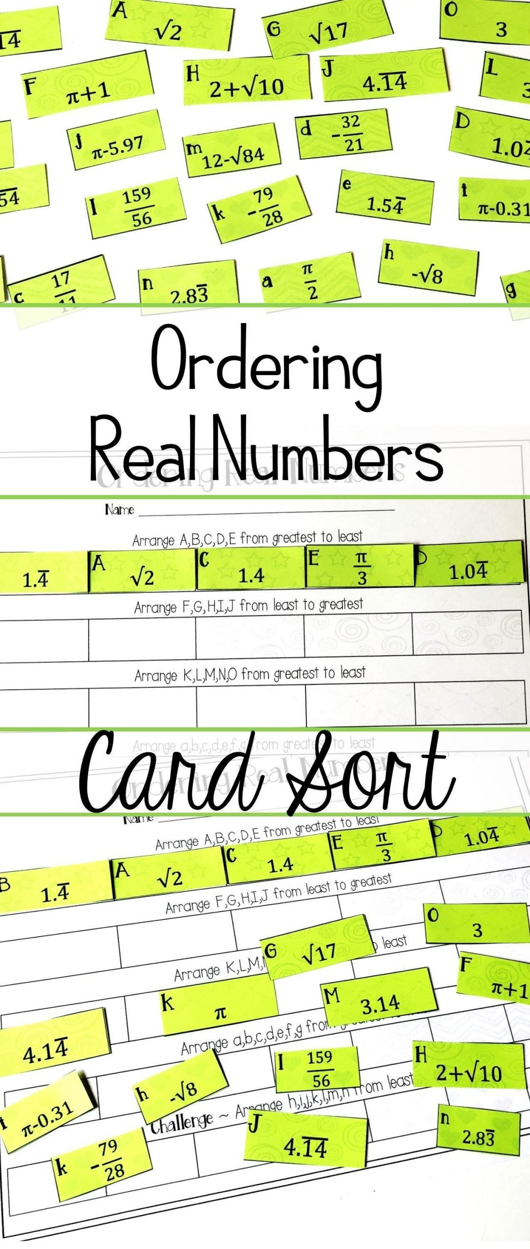 Real Numbers Worksheet 8th Grade ordering Real Numbers Activity Rational and Irrational
