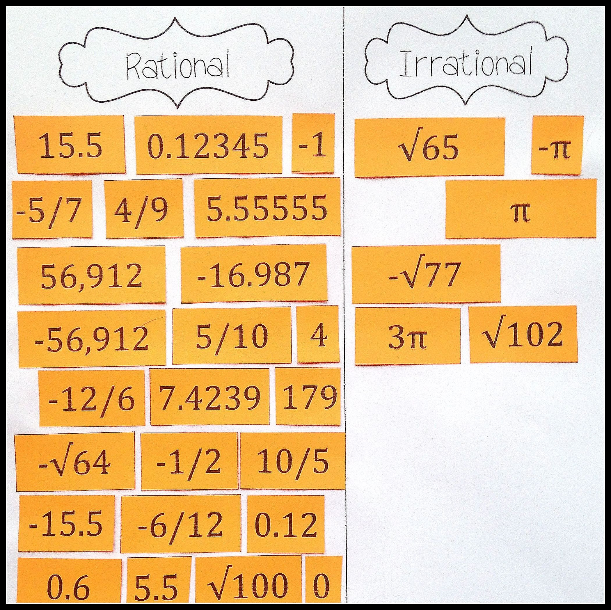 Real Numbers Worksheet 8th Grade the Real Numbers Card sort Rational Irrational Integers