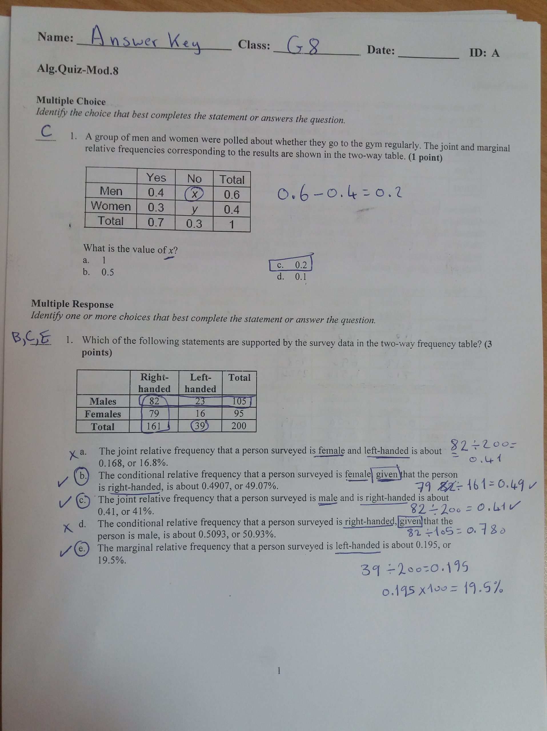Relative Frequency Table Worksheet Algebra 1