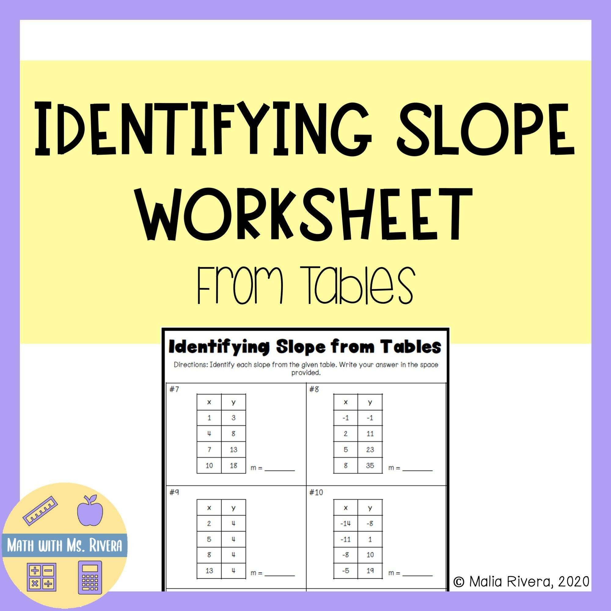 Slope From Table Worksheet Pin On Algebra Resources