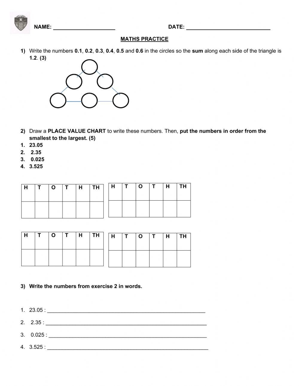 Spanish Numbers Practice Worksheet Decimal Numbers Interactive Worksheet