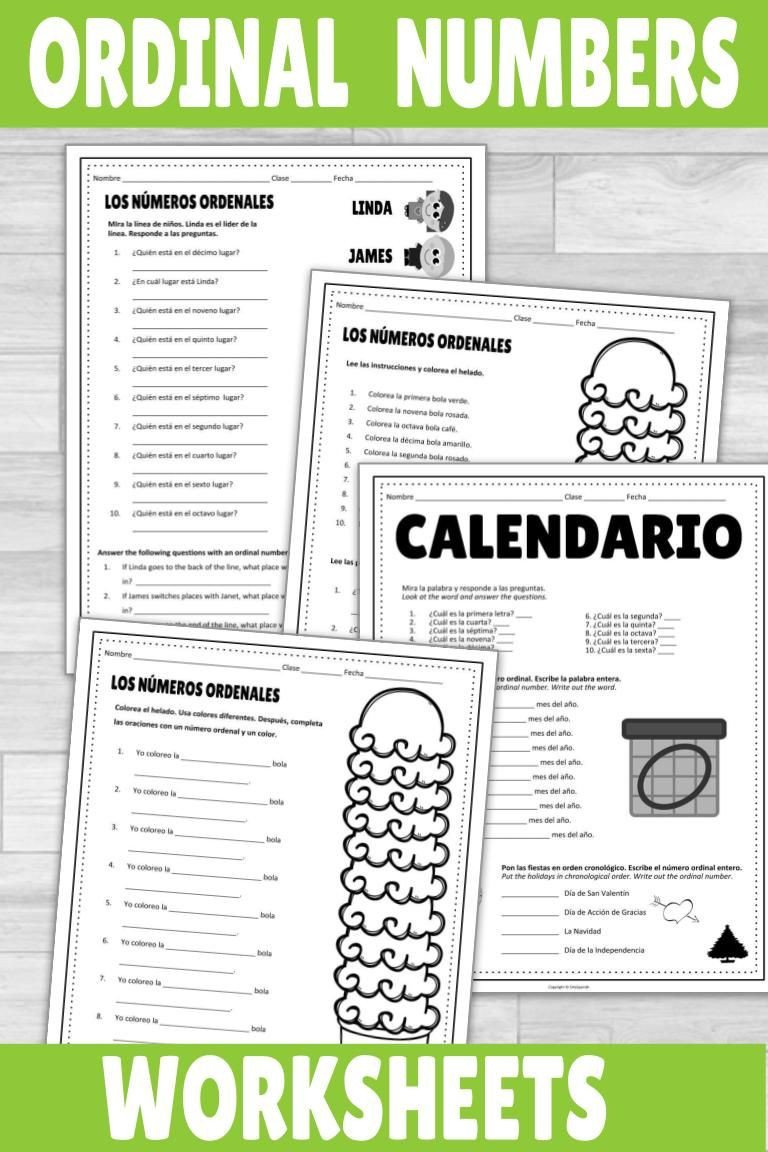 Spanish ordinal Numbers Worksheet Spanish ordinal Numbers Worksheets