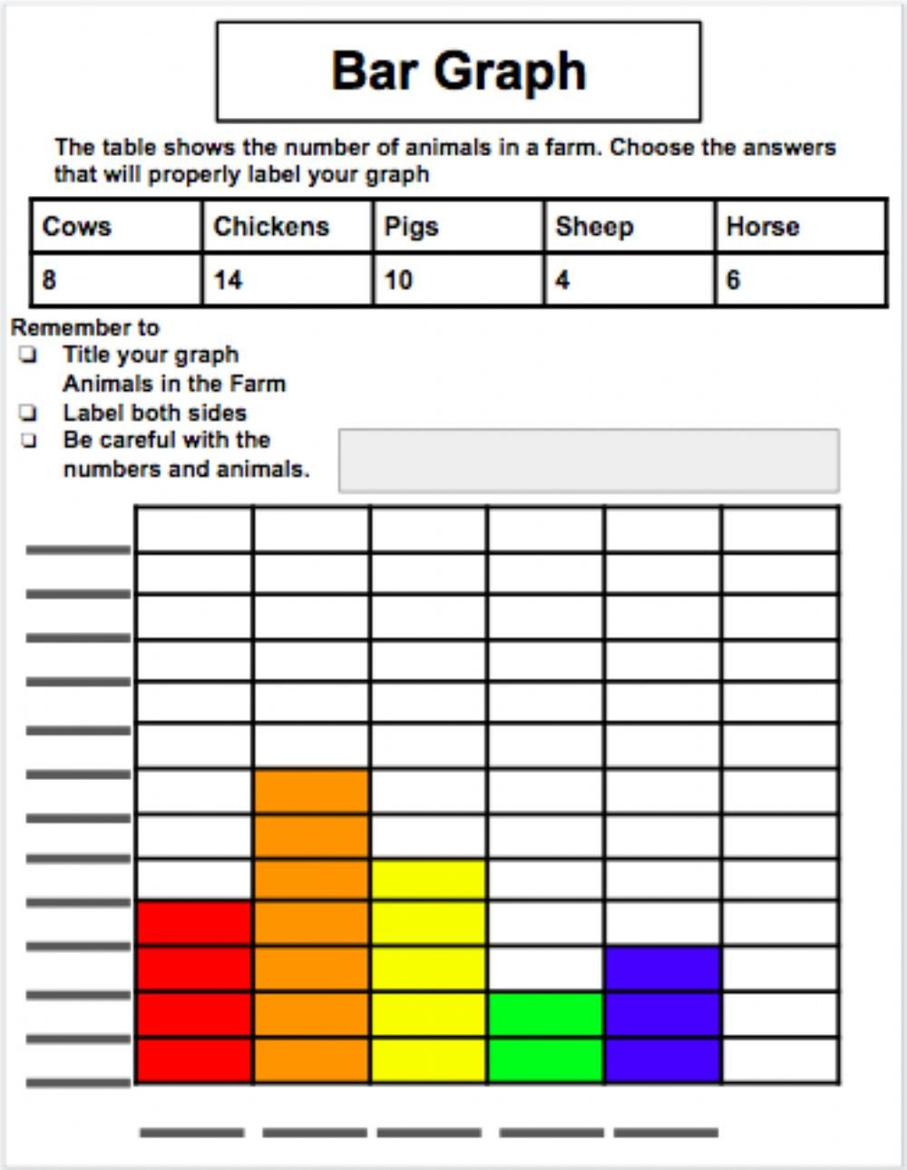 Tables and Graphs Worksheet Animal Bar Graph Interactive Worksheet