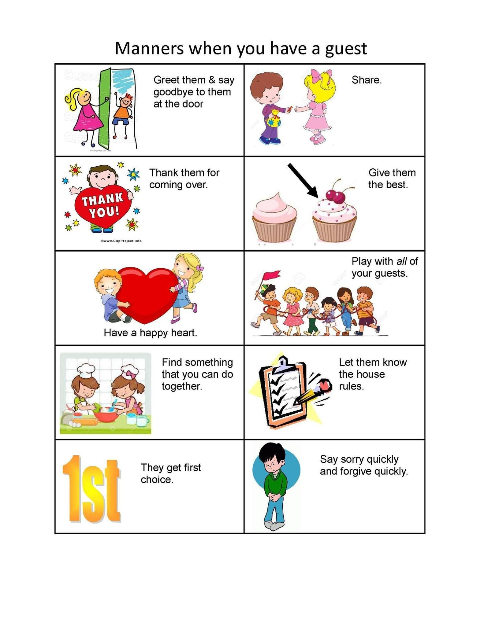 Teaching Table Manners Worksheets at the Table Manners Worksheet for Preschool