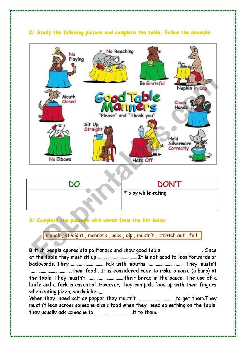 Teaching Table Manners Worksheets British Table Manners Worksheet