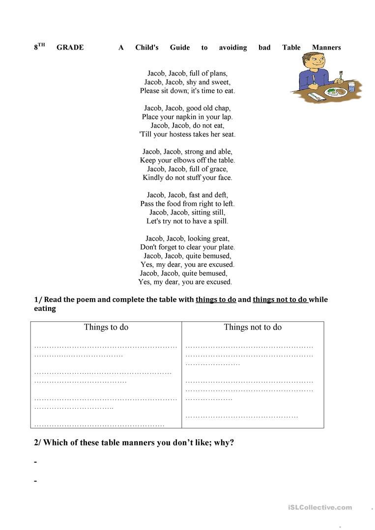 Teaching Table Manners Worksheets Good Table Manners English Esl Worksheets for Distance