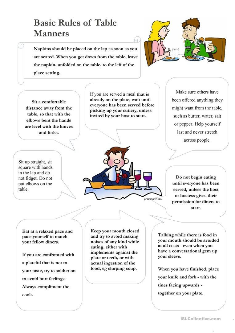 Teaching Table Manners Worksheets Table Manners English Esl Worksheets for Distance Learning