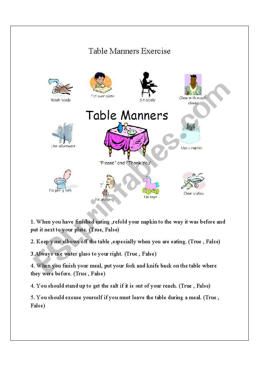 Teaching Table Manners Worksheets Table Manners Esl Worksheet by Ramvilasjaju