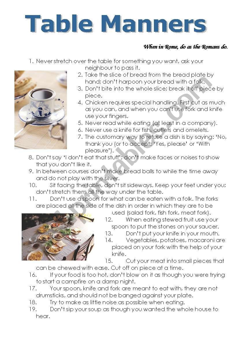 Teaching Table Manners Worksheets Table Manners Esl Worksheet by Yanishka