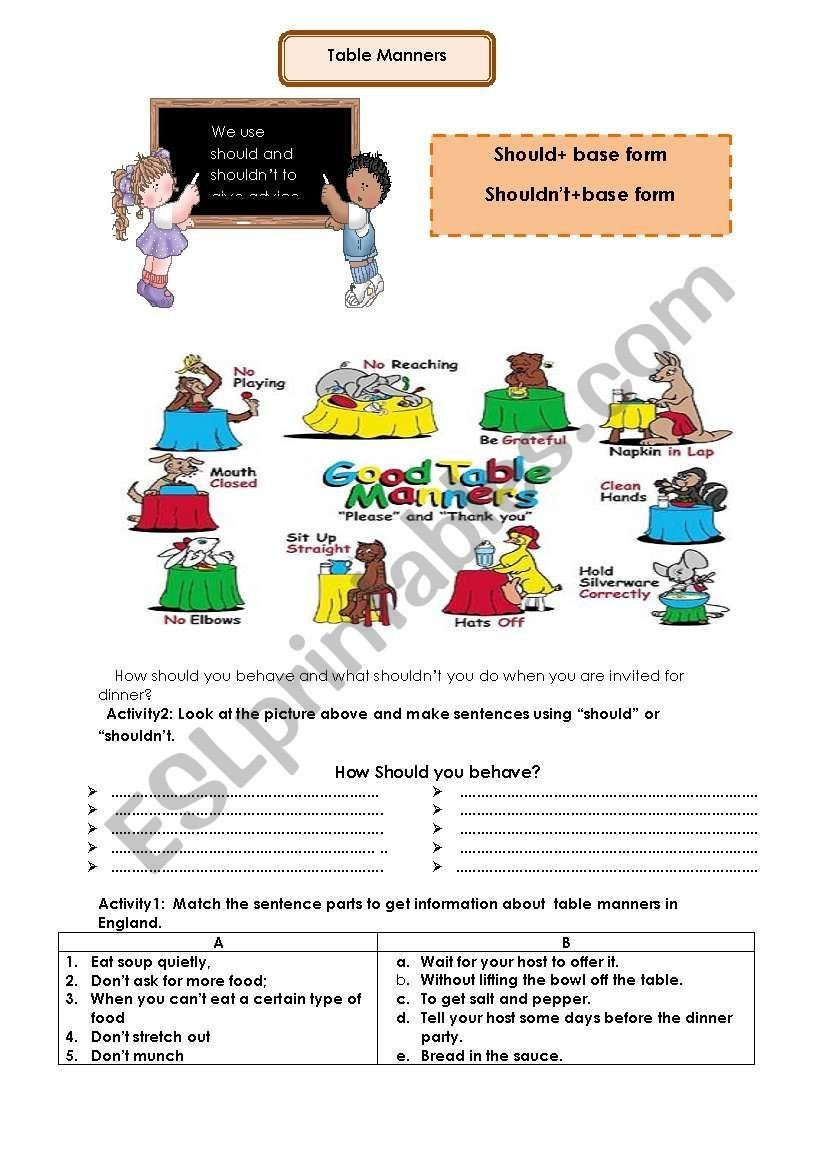 Teaching Table Manners Worksheets Table Manners Worksheet Lesson