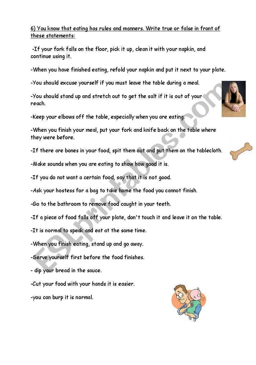 Teaching Table Manners Worksheets Table Manners Worksheet