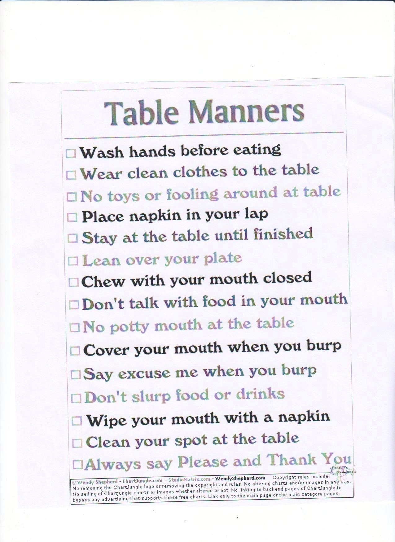 Teaching Table Manners Worksheets Table Manners Worksheets
