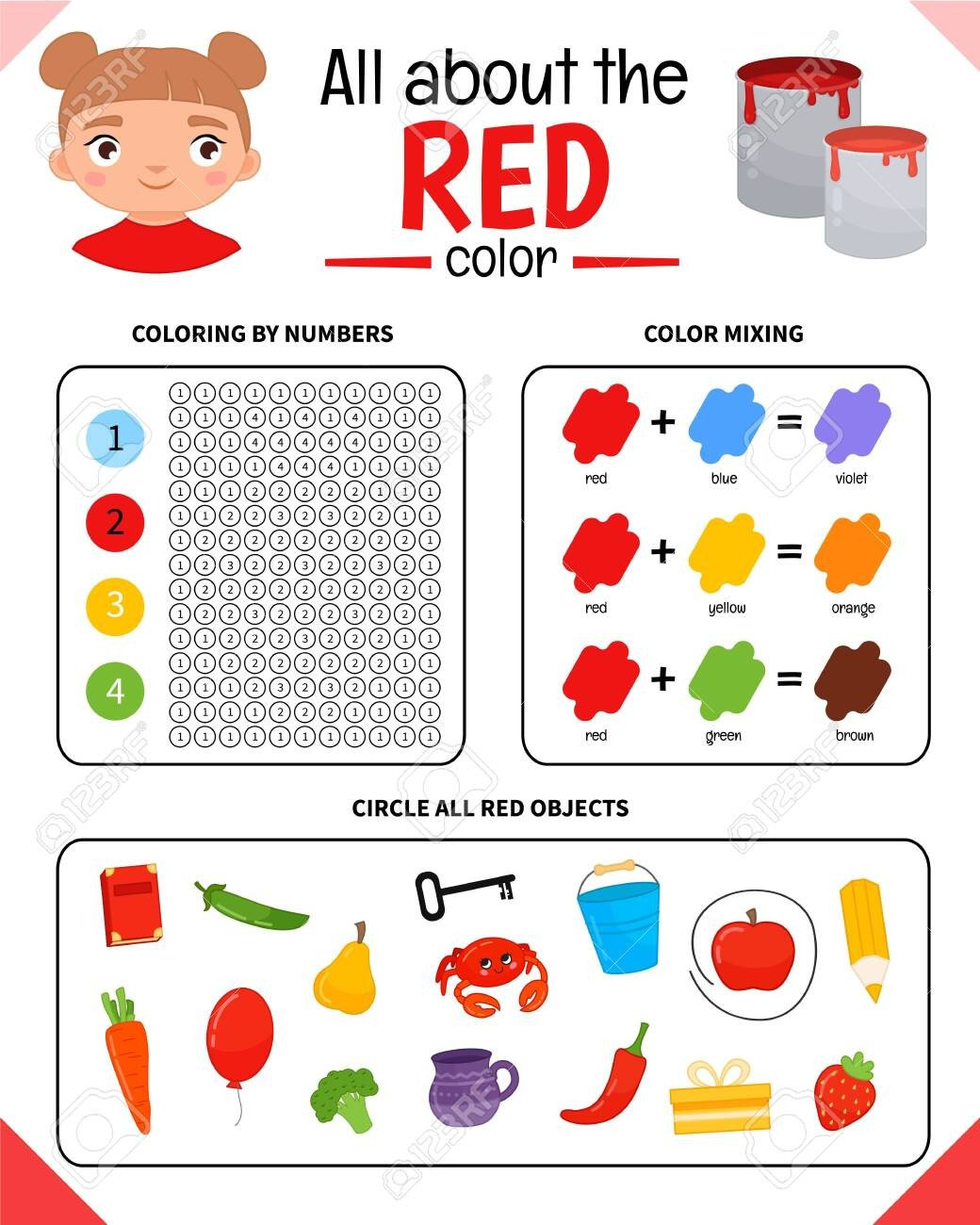 The Color Red Worksheets Kids Learning Material Worksheet for Learning Colors Red Color