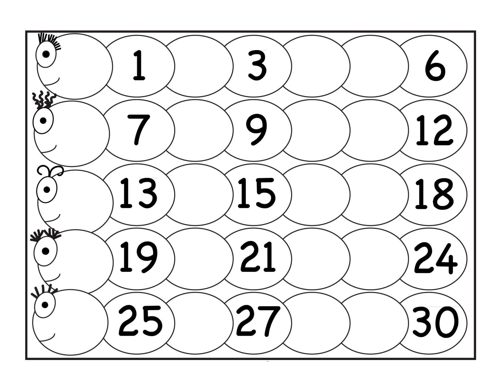 Trace Numbers 1 30 Worksheet Fill Archives