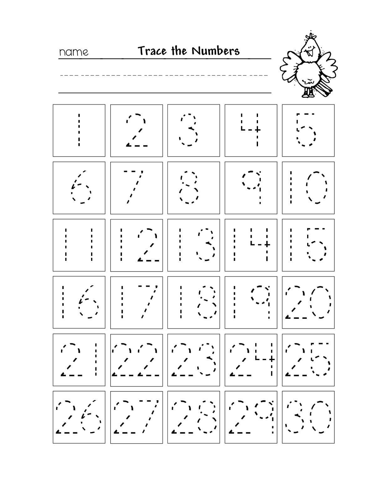 Trace Numbers 1 30 Worksheet Free Kindergarten Worksheet Numbers 21 30